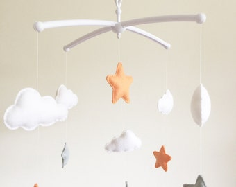 Clouds Stars Cot Mobile, Baby Mobile, Felt Cloud Nursery Mobile, Stars Nursery, Nursery Decor, Musical Cot Mobile, Grey Nursery, Peach Stars