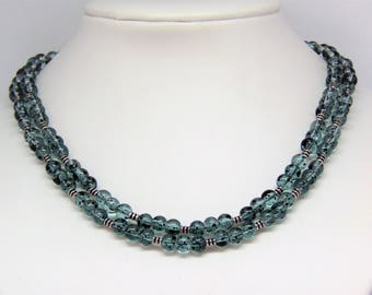 Necklace blue green speckled glass beads