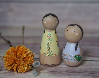 Custom Peg Doll Family of Two // personalized peg dolls // Custom couple // custom family portrait // hand paint figurines