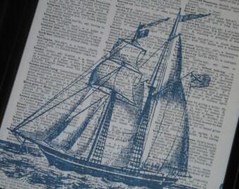Blue Sail Boat Dictionary Art Print Sail Boat Print Book Print Upcycle Art Print Dictionary Page