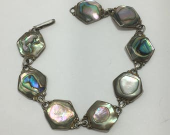 "1930's taxco abalone bracelet, sterling silver bracelet, abalone shell bracelet, 7"" long 14mm wide, theoldsilverbarrel, gift for her, mexico"