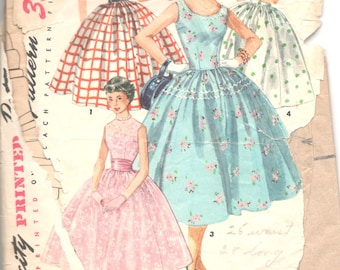 Simplicity 1213 1950s Rockabilly DRESS Pattern Full Skirt Simple to Make Womens Vintage Sewing Pattern Size 12 Bust 30