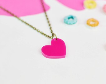 Hot Pink Heart Necklace for Valentines Day | Gifts For Her | Jewellery for Sensitive Skin
