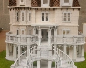Quarter Inch Scale, The Phillips' Estate Wooden Dollhouse Kit, 1:48 Scale, SHIPS WORLDWIDE