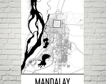 Mandalay Map, Mandalay Art, Mandalay Print, Mandalay Myanmar Poster, Mandalay Wall Art, Map of Myanmar, Burmese Gift, Burmese Decor