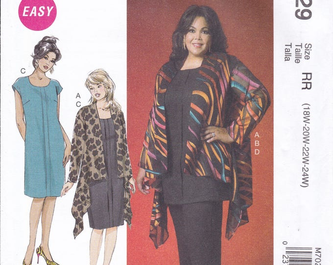 FREE US SHIP McCall's 7029 Kaliah Ali Waterfall Jacket Dress Out of Print Size 18 20 22 24 Plus Size Bust 40 42 44 46