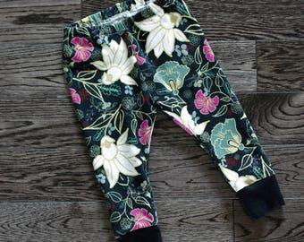 Baby Leggings, Toddler Leggings and Headband Set - Willow Blossomsl Print Leggings with Headband Set