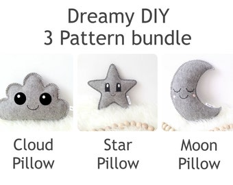 3 easy sewing patterns: Star Pillow, Cloud Pillow & Moon Pillow Sewing Pattern, PDF pattern, DIY baby gift, digital download, softie pattern