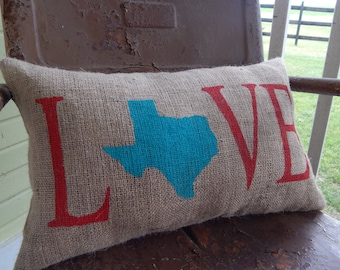 Burlap Pillow Custom LOVE STATE Painted Burlap Throw Accent Pillow Custom Colors Available Housewarming Hostess Summer Accent Decor