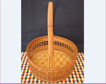 1960's Basket, 3D Cube Pattern Woven Basket, 3 Dimensional Cubist Pattern Woven into Basket, Vintage Basket, Storage Basket