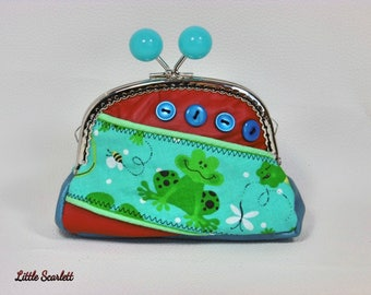 Large wallet vintage leather red and blue and frogs fabrics