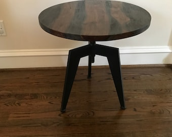Industrial Loft Table --Repurposed Ebony Tone Wood Industrial Design