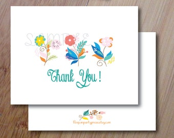 Spring Floral, Thank You Cards, Set of 10 Professionally Printed, Blank Folded