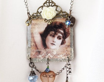 MARIA Vintage Collage Upcycled Necklace, Repurposed Necklace, Collage Necklace, Shabby Chic