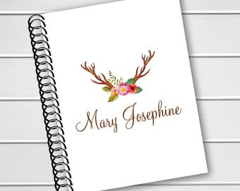 Personalized Notebook, Floral and Deer Antler Coil Notebook, Writing Journal (NB-001-PC)