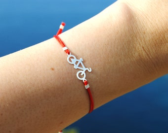 Bicycle bracelet in sterling silver, Bicycle cord bracelet in various colours