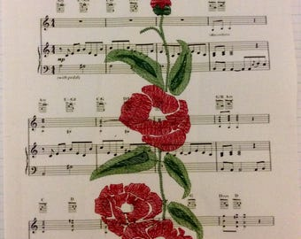 Led Zepplin, Jimmy Page Embroidered Poppy, Music, Embroidery Led Zephlin,