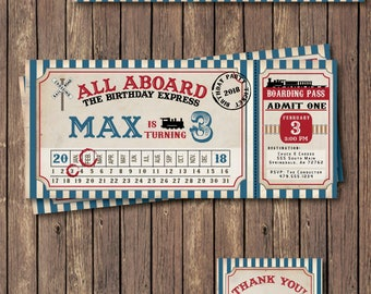 Train Birthday Invitation. Train Invitation. Train Party. Train Birthday Party. Vintage Train Ticket - DIY Printable or Printed Invitation