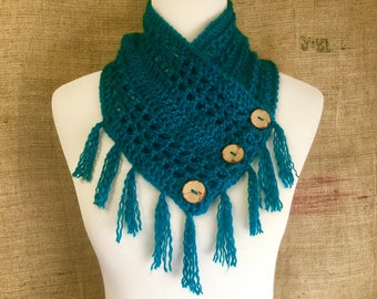 Crochet cowl shawl scarf soft with fringe and buttons turquoise