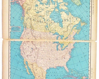 Original 1895 Color Atlas Map of North America by Rand McNally & Co. Large Map Showing Principal Divisions and Cities of North America