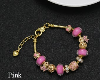 Breast Cancer Awareness gold plated bracelet