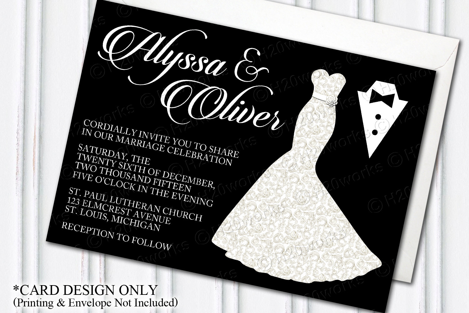 Wedding Invitation By Bride And Groom Wording Samples: Glamorous Dress & Tuxedo Wedding Invitation Glam Themed