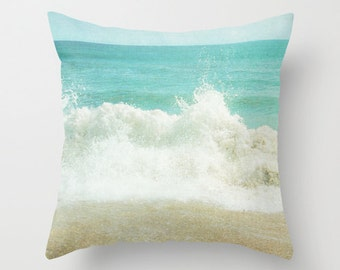Pillow Cover, Ocean Pillow, Beach Photo Pillow, Aqua Teal Pillow, Ocean Wave Throw Pillow, Living room decor, Bedding, 16x16 18x18 20x20