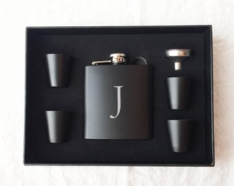 5 Personalized Flask Sets - Groomsmen Gift - Boxed Flask Set - Monogram Flask Set - Best Man Gift - Wedding - Bachelor Gift - Black Flask