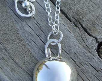Sterling Silver Dome Necklace - Curly Handle Necklace - Everyday Layering Necklace - Handmade Jewelry