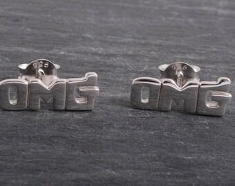 Sterling Silver OMG Earrings Ear Studs handmade