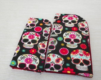 Floral and Paisley Sugar Skulls on Black Slide in Sunglass or Eyeglass Case Choose Your Size