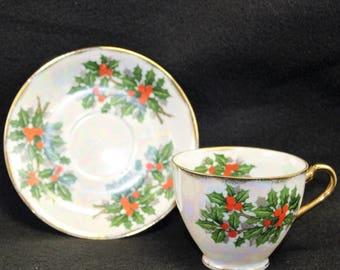 Christmas Ucagco Tea Cup and Saucer  Holly and Berries  Iridescent Finish  Gold Trim  Red and Green  Tea Party  Christmas Tea  December