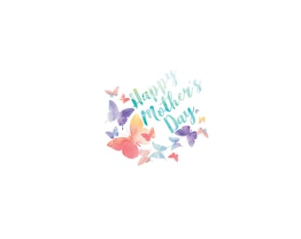 Happy Mother's Day Pastel Butterflies Window Cling