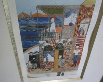Vintage Framed Jewish Theme Numbered Print Signed Ilan Hasson