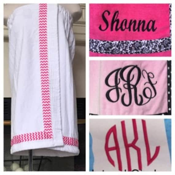 Spa Wrap Personalized Womens White Towel Wrap With Accent Ribbon