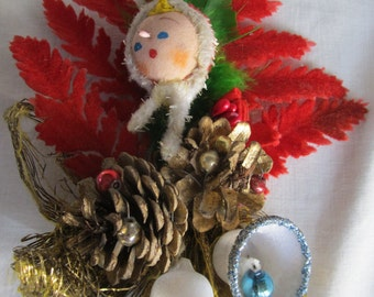 Vintage 1960's Red Flocked Christmas Corsage