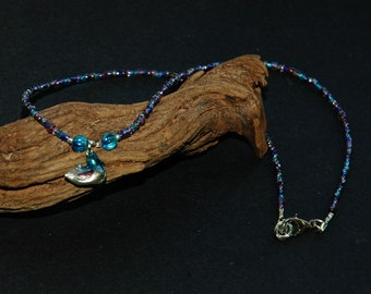 Sweet Little Ducky Necklace, Vintage Duck Cham, Painted Silver Metal, Seed Beads in a Mix of Blue, Purple and Silver, 15 1/2 Inch Length