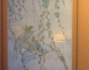Elfin Swings vintage Margaret Tarrant print on original mount.