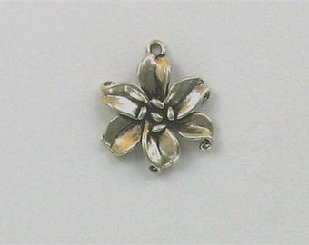 Sterling Silver 3-D Lily Flower Charm