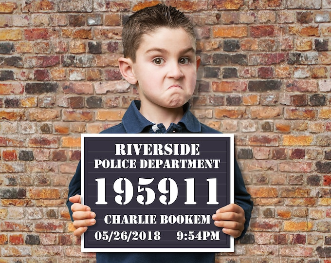 Mugshot Board - Police Slate Sign - Police Party, Cops & Robbers, Spy, Secret Agent Party | Editable Text INSTANT Download DIY Printable PDF
