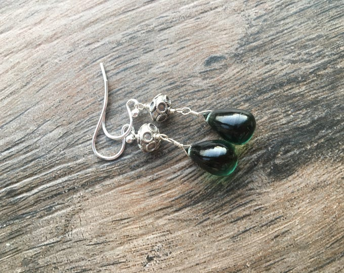 Smooth Green Quartz Drops and Bali Silver Earrings