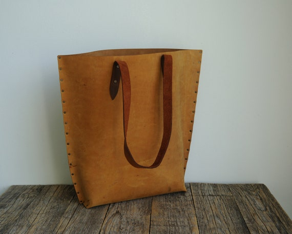 Leather Tote Bag. Rough style unisex tan brown handbag with dark brown handles