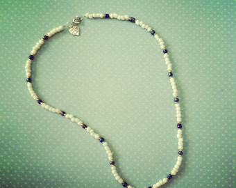 "18"" White and Blue Necklace With Gold Accent Beads - M188"