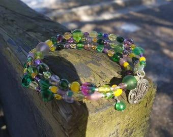 Mardi Gras Large Size Memory Wire Bracelet