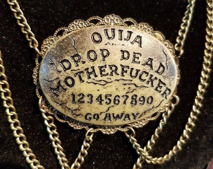 Ouija Drop Dead Motherfucker necklace and earrings - skeleton hanged man gothic ouija scrying ghost medium occult witch sceance pagan creepy