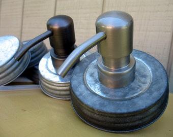 Mason Jar Soap Dispenser Lid ,DIY Lid and pump, Regular Mouth Wide Mouth Galvanized Mason Jar Soap Dispenser Lid