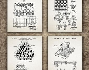 Chess Patent Set of 4 Prints, Chess Print, Chess Poster, Chess Patent, Chess Wall Decor, Chess Gift Idea, Chess Set of 4 INSTANT DOWNLOAD