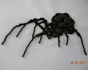 Spider Vintage Button Art.   Framed and backed ready to hang