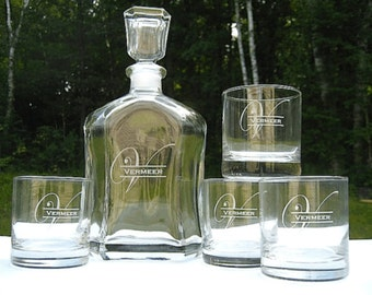 Whiskey Decanter with TWO Rocks Glasses - Personalized Engraved Whiskey Decanter - Glass Whisky Decanter
