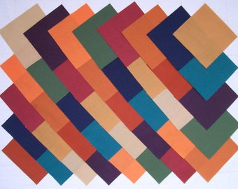 SUBDUED SOLIDS 100% Cotton Prewashed Fabric, 40 4 inch Quilt Block Fabric Squares (#74A)